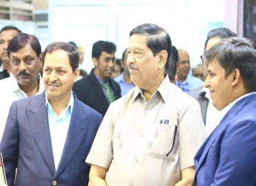 MLA - Hon. Shri Girish Bapat with Mr. Kishor Pate, CMD, AEHL & Mr. Rohan Pate at AEHL's Booth in CREDAI-Pune Property Expo'16