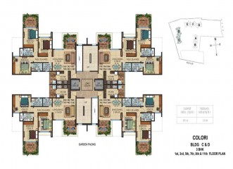 Amit's Colori    Floor Plan Building C & D  Ready Possession 3 BHK in Undri, Pune